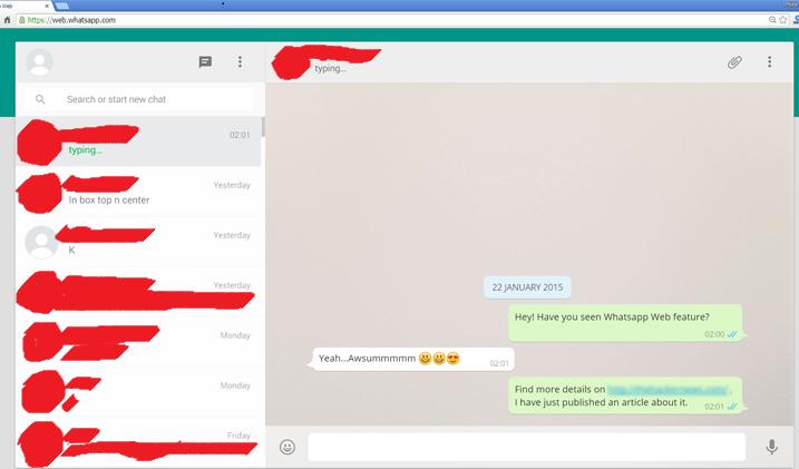 Whatsapp home page interface