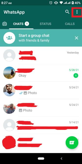 Whatsapp mobile app three dot menu icon